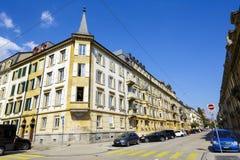 Neuchatel sikt av bostads- byggnader Fotografering för Bildbyråer