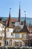 Neuchatel, Switzerland. The market square in the old town of Neuchatel, Switzerland Stock Photography