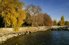 Neuchatel town quay. Panoramic view on Neuchatel town quay from lake. Neuchatel, Switzerland Royalty Free Stock Photography