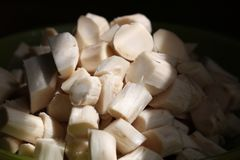 Neue appetitliche Scheiben des Gemüsenahrungsmittelschnittes in Scheibennahaufnahme im Wasser auf einem dunklen Hintergrund lizenzfreie stockfotos