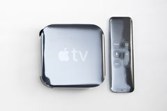 Neue Apple Fernsehmedien, die Spieler microconsole strömen Lizenzfreie Stockfotografie