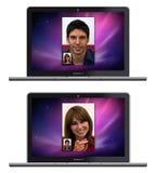 Neue AppleMacBook Pro Whit Gesichts-Zeit stock abbildung