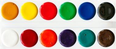 Neue Aquarellfarben, Nahaufnahme stockbilder