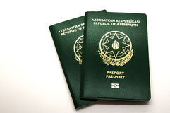 Neue Aserbaidschan-Pässe mit Mikrochip Lizenzfreie Stockfotos