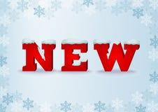 Neue Aufschrift in der Art 3d auf blauem weichem Hintergrund mit Schneeflocken Lizenzfreies Stockfoto