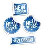 Neue Auslegung- und Versionsaufkleber. Stockbilder