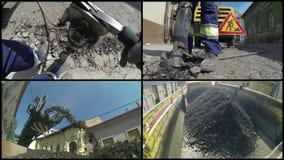 Neue Bürgersteigkreation und -schutt gossen vor Asphalt stock footage