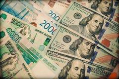 Neue Banknote hundert Dollar, russische Rubel Lizenzfreies Stockfoto