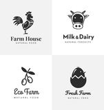 Neue Bauernhoflogos eingestellt Vektoraufkleber für Geschäft mit Produkten vom Hühnerfleisch, -milch, -molkerei, -eiern und -oliv lizenzfreie abbildung