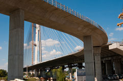 Neue Belgrad-Brücke auf Fluss Sava 19 Stockbild