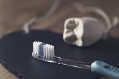 Neue blaue Zahnbürste mit der Form eines Zahnes Stockfotos