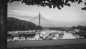 Neue Brücke und Marinesoldat in Belgrad-Stadt Lizenzfreie Stockfotos