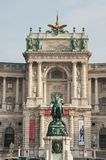 Neue Burg palace with the horseman statue stock images
