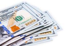 Neue 100 Dollar durch Abschluss oben Stockbild