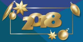 2018 neue Ebenenlagezusammensetzung des Jahres 3d realistische Goldene Weihnachtsbaum-Spielwarenballstern-Ovalform Draufsichtfahn Lizenzfreie Stockfotografie