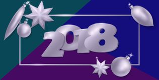 2018 neue Ebenenlagezusammensetzung des Jahres 3d realistische Silberne metallische Weihnachtsbaum-Spielwarenballstern-Ovalform B Stockfoto