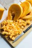Neue Ernte des orange Kürbises Stockfoto