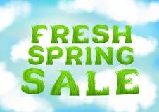 Neue Frühlingsverkaufsaufschrift gemacht vom Gras Weiße Wolken auf blauer Frühlingshimmeltapete Natürlicher unscharfer weicher Hi Stockfotografie