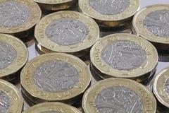 Neue Frage eine Pfundbi-Farbmünzen stockfoto
