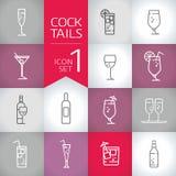 Neue Getränke und Cocktailgeometrie moderne Vektorikonen eingestellt Stockbild