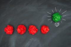 Neue gute Ideen, bunter Papierball auf Tafel Lizenzfreie Stockfotografie