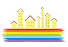 Neue Häuser auf dem Regenbogen Lizenzfreies Stockbild