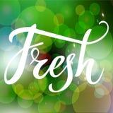 Neue Hand gezeichnetes Logo, Aufkleber mit Grün und defocused Hintergrund des Glanzes Vector Illustration ENV 10 für Lebensmittel Stockfotografie