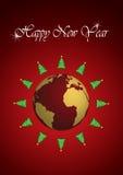 Neue Jahre Baum-um die Erde Lizenzfreies Stockbild