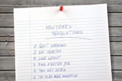 Neue Jahre Beschlüsse aufgelistet Stockfoto