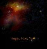 Neue Jahre, die mit Platz-u. Galaxie-Hintergrund grüßen Stockfotos