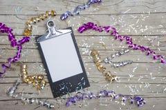Neue Jahre Eve Background mit weißer Karte Stockbilder