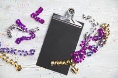 Neue Jahre Eve Background mit weißer Karte Stockbild