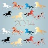 Neue Jahre Hintergrund mit Pferden Lizenzfreies Stockfoto