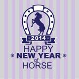 Neue Jahre Karte bis zum einem Jahr eines Pferds 2014 Stockfotos