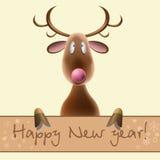 Neue Jahre Karte mit dem Bild eines Rotwilds auf einem Licht Lizenzfreies Stockbild