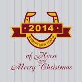 Neue Jahre Karte mit einem Hufeisen. 2014 eines Pferds Stockbild