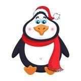 Neue Jahre netter netter Pinguin in im roten Hut und dem Schal des Winters sitzt Stockfotos