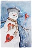 Neue Jahre verliebte Schneemann- Stockbild