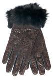 Neue lederne Handschuhe des Frauenleoparden Lizenzfreie Stockfotos