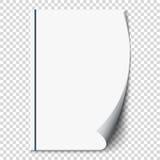 Neue Locke der weißen Seite auf Leerbelegpapier Realistisch leeren Sie gefaltete Seite Transparenter Designaufkleber Vektor Lizenzfreies Stockbild