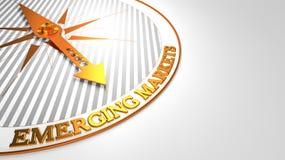 Neue Märkte auf Weiß-goldenem Kompass Stockfoto