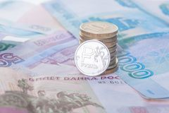 Neue Münze und Banknoten des russischen Rubels Lizenzfreie Stockbilder
