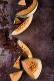Neue Melonescheiben Stockfoto