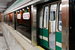 Neue Metrostation Begovaya in St Petersburg, Russland lizenzfreie stockbilder