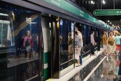 Neue Metrostation Novokrestovskaya in St Petersburg, Russland stockbilder