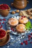 Neue Muffins und Moosbeerfruchtgetränk mit einem dunklen Hintergrund und dem Niederlassungsbaum Stockfoto