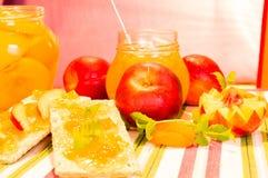 Neue Pfirsiche und Pfirsichmarmelade Lizenzfreie Stockfotografie