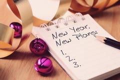 Neue Pläne des neuen Jahres mit Dekoration Lizenzfreies Stockfoto