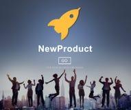 Neue Produkteinführung, die Handelsinnovations-Konzept vermarktet lizenzfreie stockfotografie