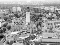 Neue Rathaus. Aerial view of the Leipzig Neues Rathaus meaning New Town Hall  is the seat of the Leipzig city administration designed by Hugo Licht in 1897 in Stock Image